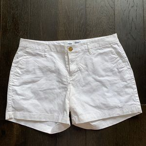 Old Navy Mid Waisted White Cotton Shorts